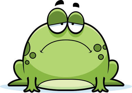 A cartoon illustration of a frog looking sad. Vectores