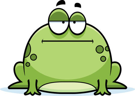 A cartoon illustration of a frog looking bored.