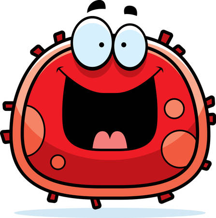 bacteria cell: A cartoon illustration of a red blood cell looking happy.