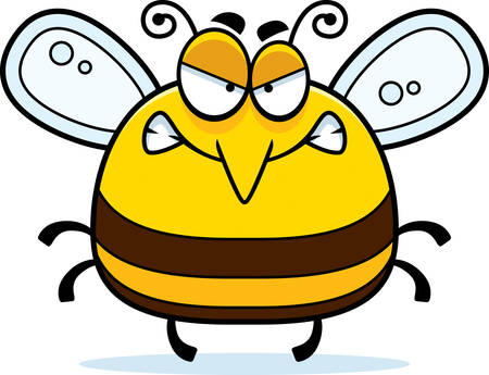 A cartoon illustration of a bee looking angry. Ilustrace