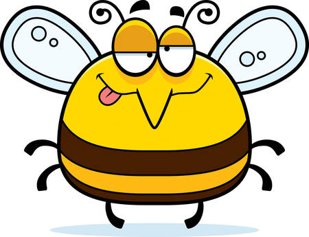 A cartoon illustration of a bee looking drunk.