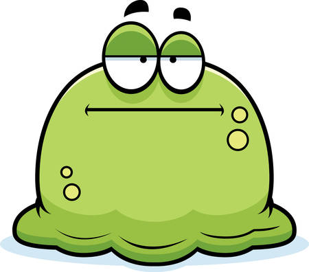 A cartoon illustration of a booger looking bored.