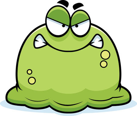 A cartoon illustration of a booger looking angry.