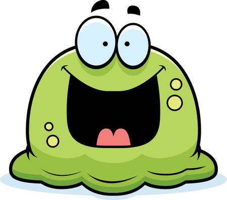 snot: A cartoon illustration of a booger looking happy. Illustration