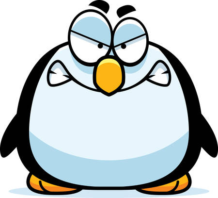 A cartoon illustration of a penguin looking angry.