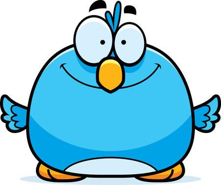 bluebird: A cartoon illustration of a bluebird smiling. Illustration