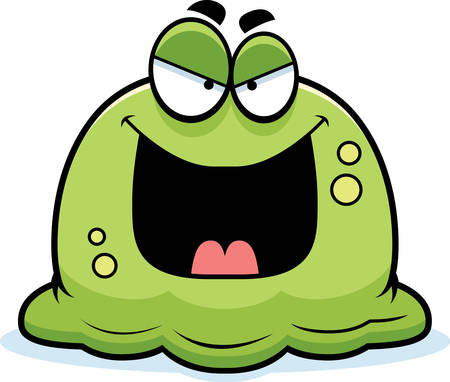 mucus: A cartoon illustration of an evil looking booger.