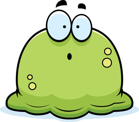 ooze: A cartoon illustration of a booger looking surprised.