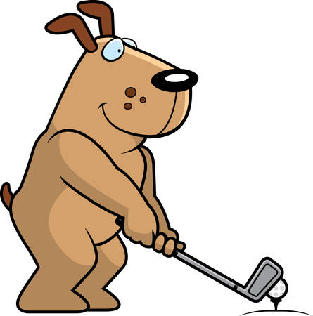 A cartoon illustration of a dog playing golf.