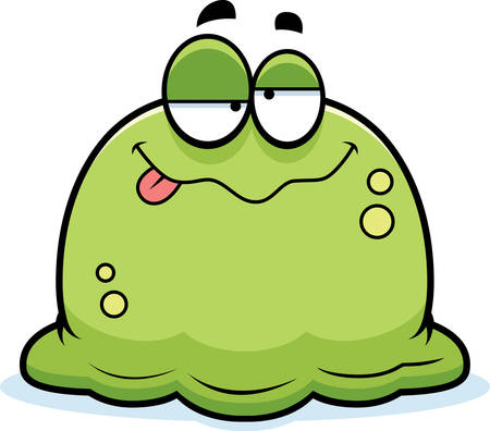 mucus: A cartoon illustration of a booger looking drunk.