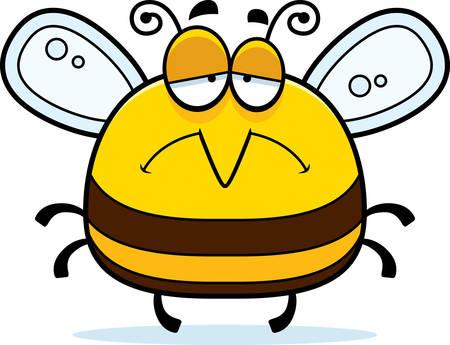 A cartoon illustration of a bee looking sad.
