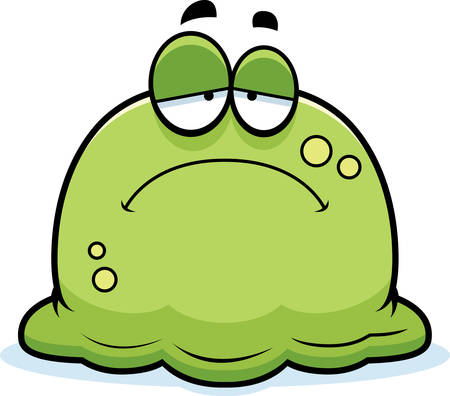snot: A cartoon illustration of a booger looking sad.