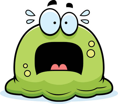 A cartoon illustration of a booger looking scared.