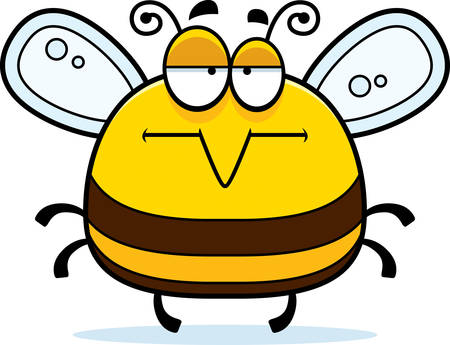 A cartoon illustration of a bee looking bored.
