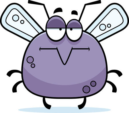 mellow: A cartoon illustration of a mosquito looking bored.