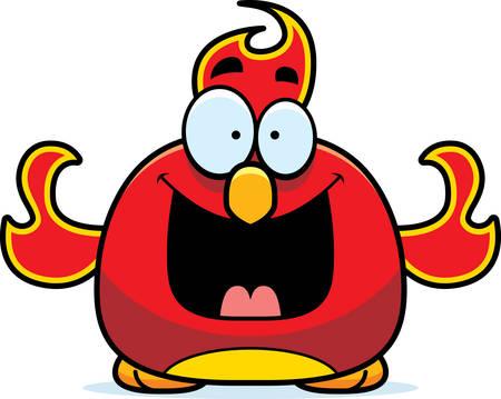 smilling: A cartoon illustration of a phoenix bird looking happy.