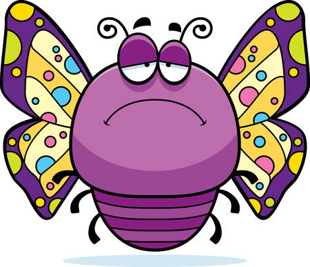 frowning: A cartoon illustration of a butterfly looking sad.