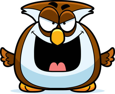 A cartoon illustration of an evil looking owl.