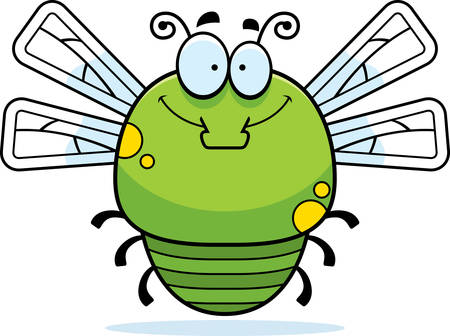 smilling: A cartoon illustration of a dragonfly smiling. Illustration