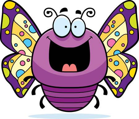 smirking: A cartoon illustration of a butterfly looking happy. Illustration