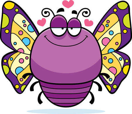 infatuated: A cartoon illustration of a butterfly in love.