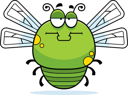 bore: A cartoon illustration of a dragonfly looking bored.