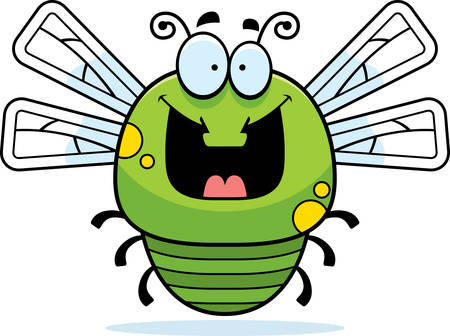 smilling: A cartoon illustration of a dragonfly looking happy.