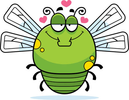 infatuated: A cartoon illustration of a dragonfly in love.