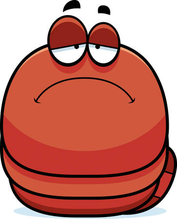 scowl: A cartoon illustration of a worm looking sad.