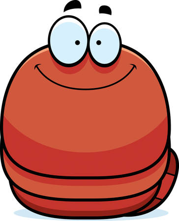 earthworm: A cartoon illustration of a worm smiling.