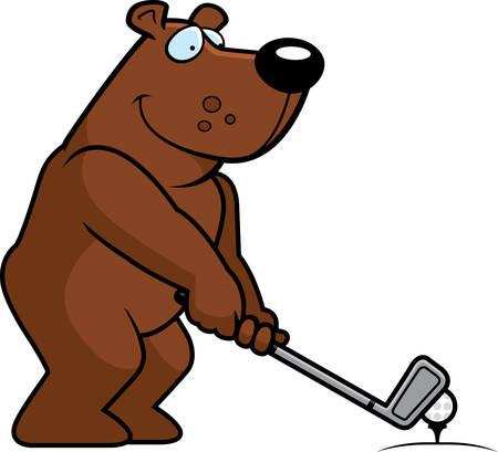 A cartoon illustration of a bear playing golf.