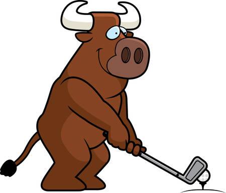 rt: A cartoon illustration of a bull playing golf.