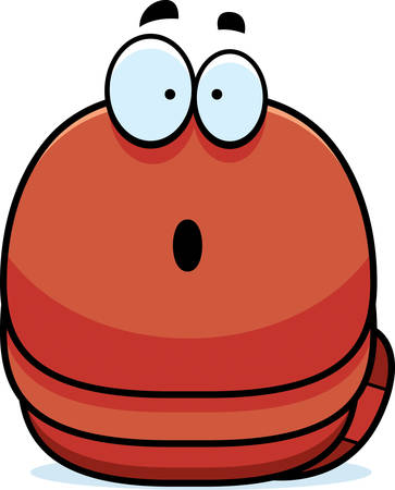 earthworm: A cartoon illustration of a worm looking surprised.