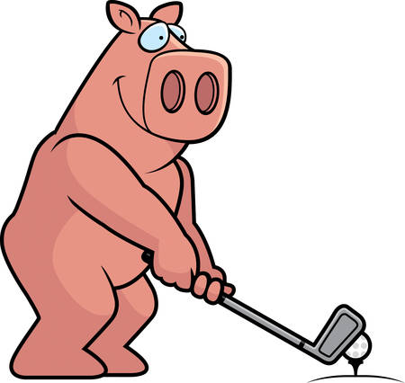 rt: A cartoon illustration of a pig playing golf. Illustration