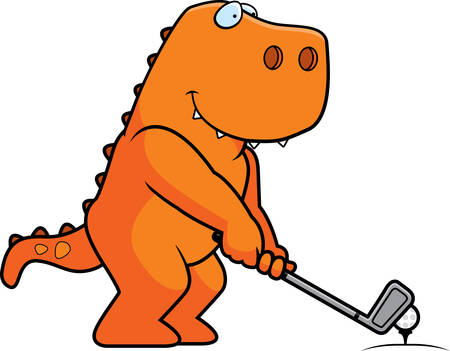 rt: A cartoon illustration of a Tyrannosaurus Rex playing golf. Illustration