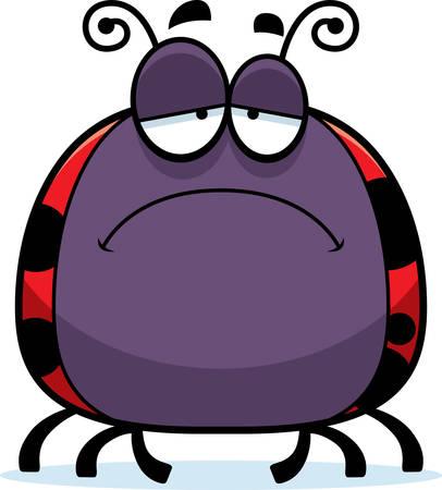 scowl: A cartoon illustration of a ladybug looking sad.