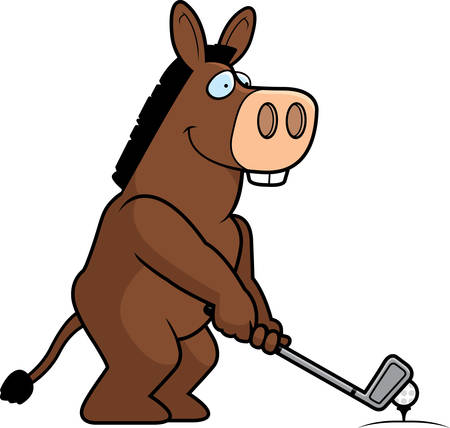 jackass: A cartoon illustration of a lion playing golf.