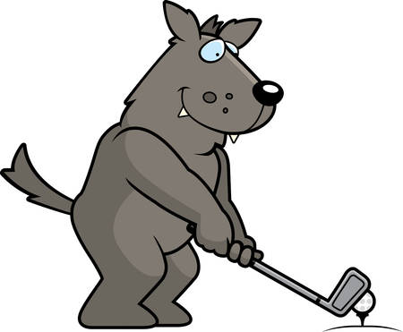 rt: A cartoon illustration of a wolf playing golf.