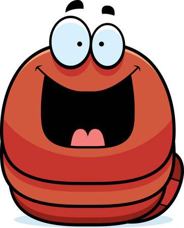 earthworm: A cartoon illustration of a worm looking happy.