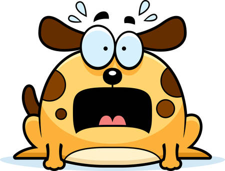 animal screaming: A cartoon illustration of a dog looking terrified.