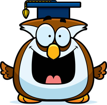 studious: A cartoon illustration of a owl with a graduation cap.