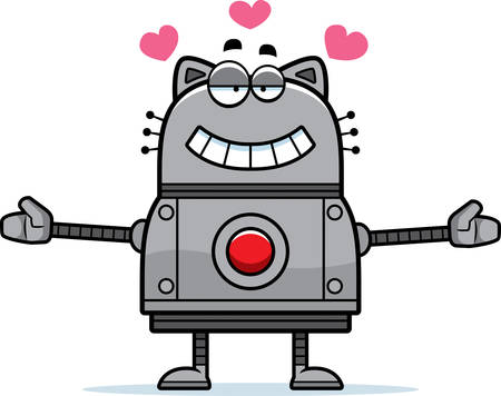 infatuated: A cartoon illustration of a robot cat ready to give a hug. Illustration