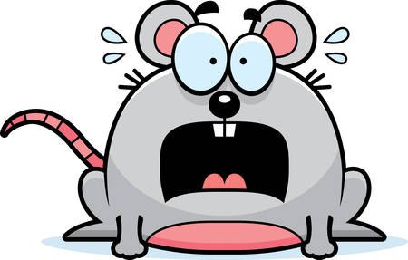 A cartoon illustration of a mouse looking terrified.