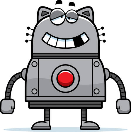 impaired: A cartoon illustration of a malfunctioning robot cat.