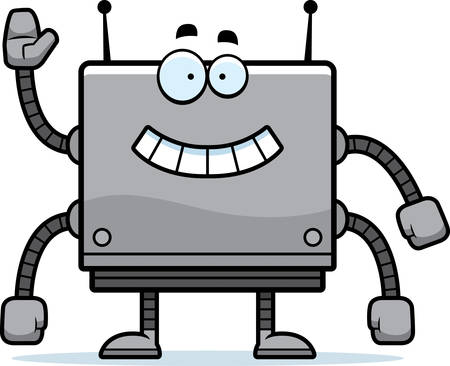 boxy: A cartoon illustration of a square robot smiling and waving.
