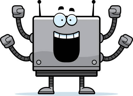 A cartoon illustration of a square robot celebrating success.