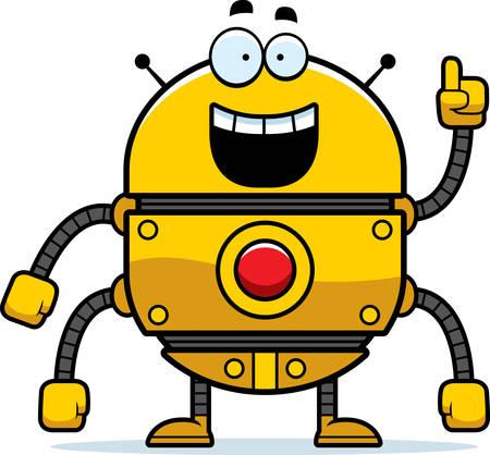 talking robot: A cartoon illustration of a gold robot with an idea.
