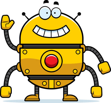 smilling: A cartoon illustration of a gold robot smiling and waving.