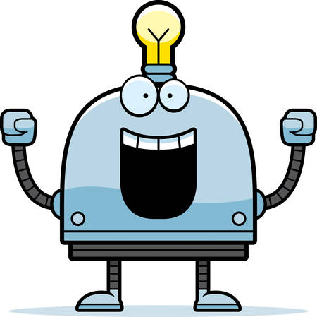 A cartoon illustration of a little robot celebrating success. Иллюстрация