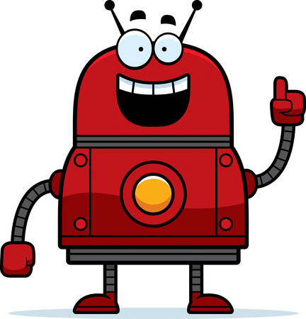 talking robot: A cartoon illustration of a red robot with an idea. Illustration